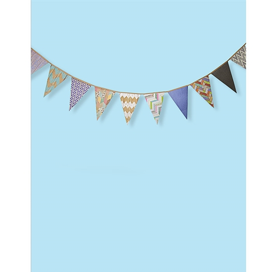 Baby Blue And Chevron Bunting Printed Backdrop Backdrop