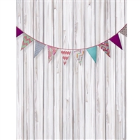 Chevron Bunting on White Wood Printed Backdrop