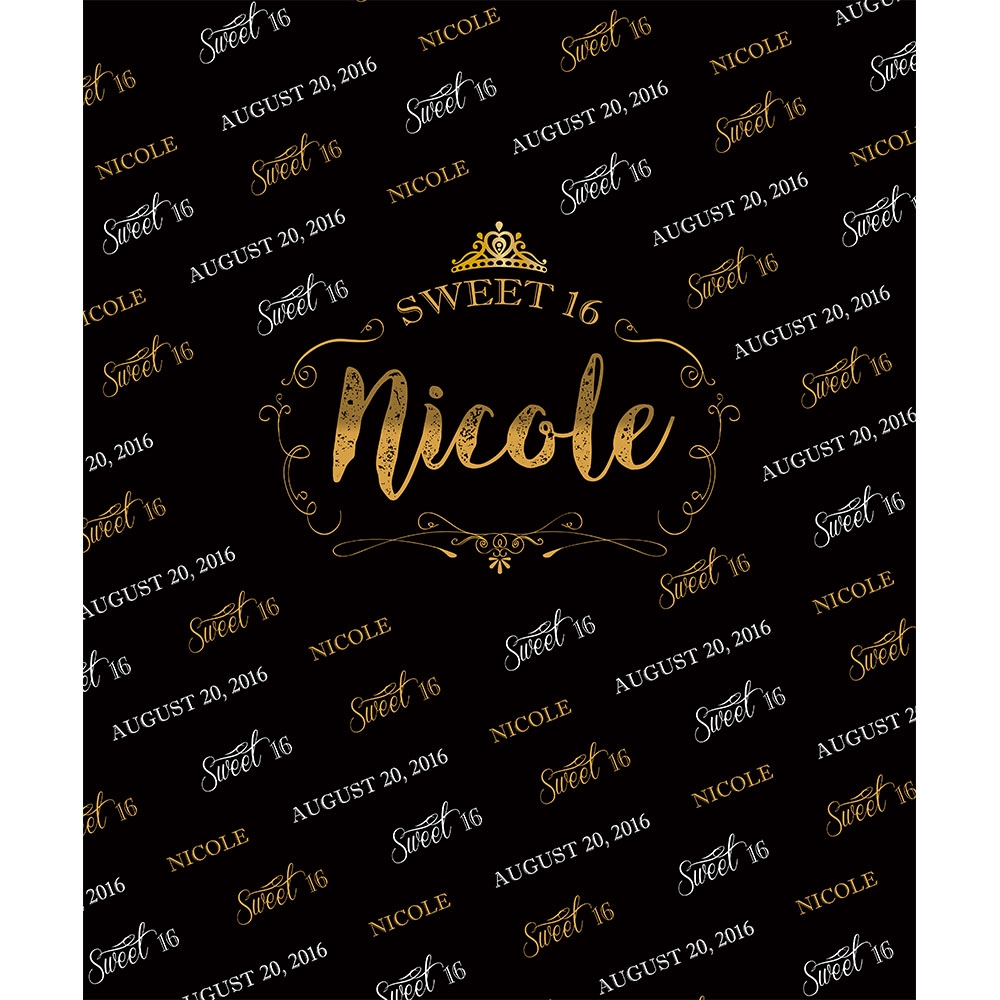 Black Amp Gold Sweet 16 Custom Printed Backdrop Backdrop