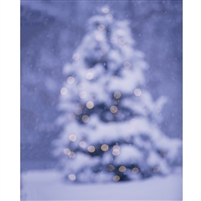 Blurred Holiday Tree Printed Backdrop