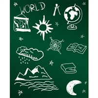 World Traveler Chalkboard Printed Backdrop