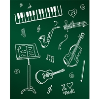 Band Chalkboard Printed Backdrop