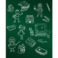 School & Friends Chalkboard Printed Backdrop