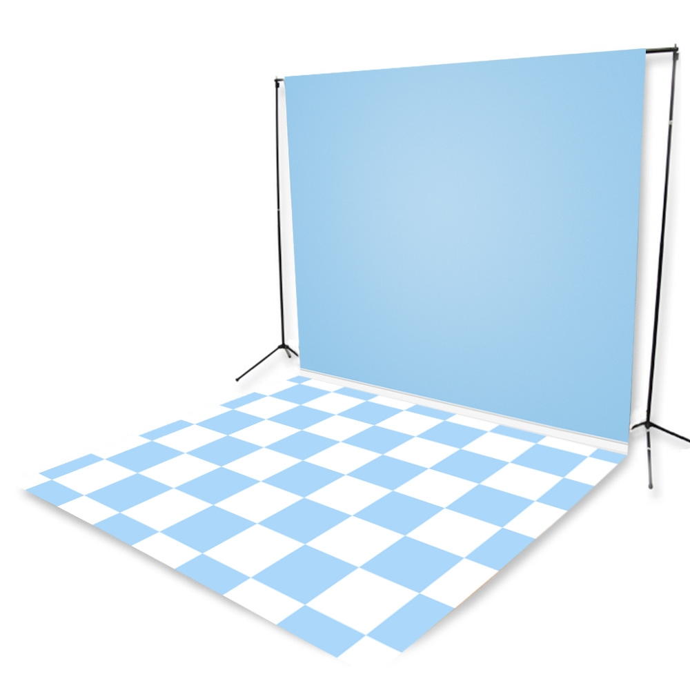 Baby Blue Tiles Floor Extended Printed Backdrop 9ft W X 16ft H