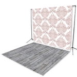 Blush Damask & Gray Pine Floor Extended Printed Backdrop