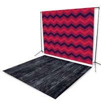 Dark Red Chevron Floor Extended Printed Backdrop