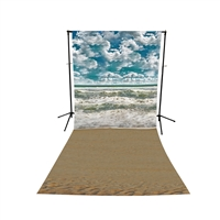 Cloudy Shoreline Floor Extended Printed Backdrop