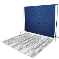 Blue Harlequin & White Wash Floor Extended Printed Backdrop