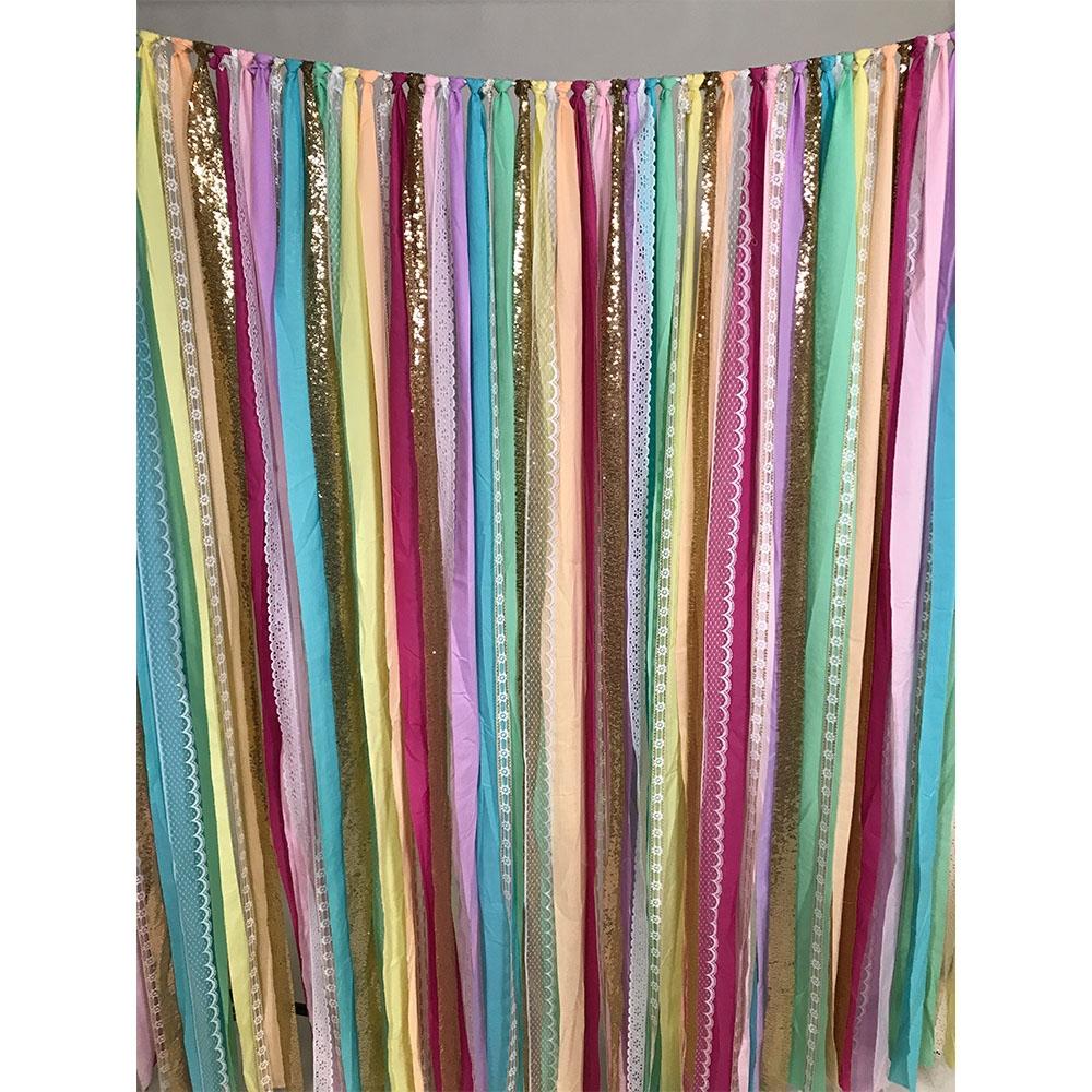 Rainbow Fabric Garland Backdrop Backdrop Express