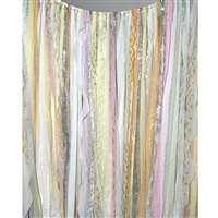 Peach & Silver Fabric Garland Backdrop