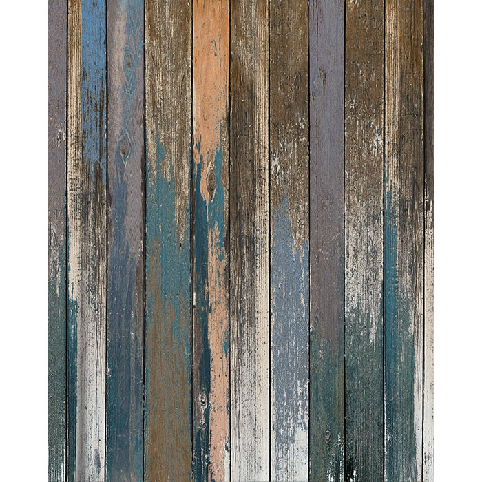 Blue And Peach Distressed Wood Floordrop