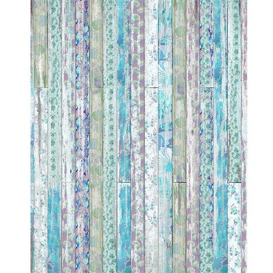 Blue Floral Planks Backdrop Express