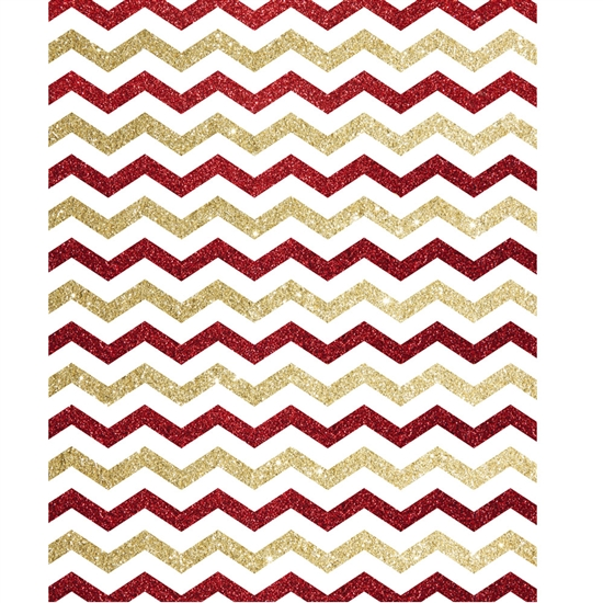 Red And Gold Glitter Chevron Printed Backdrop Backdrop