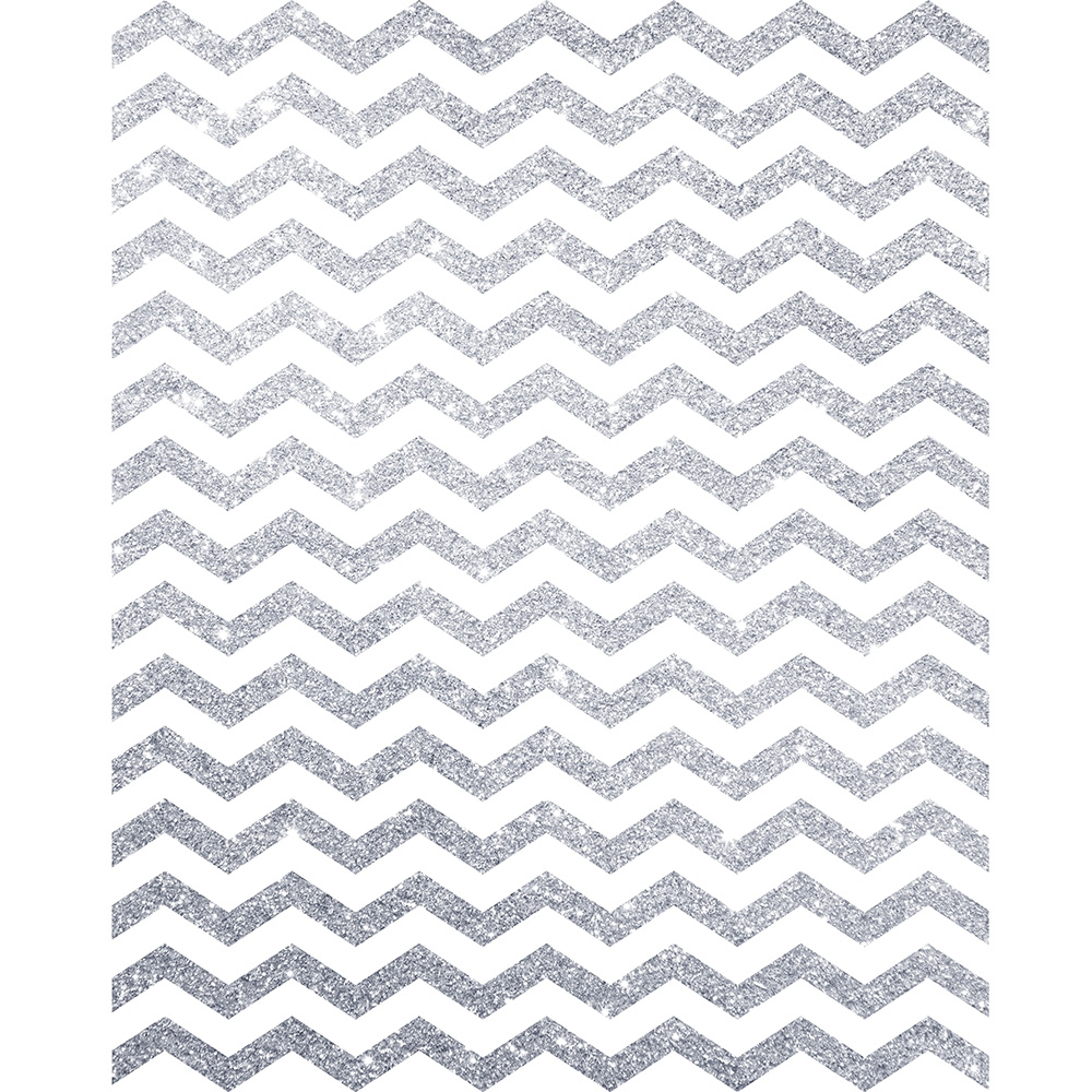 Silver Glitter Chevron Printed Backdrop | Backdrop Express