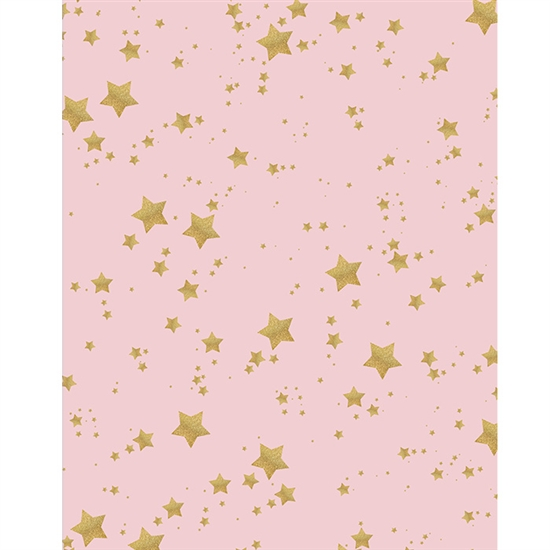 Pink With Gold Glitter Stars Printed Backdrop Backdrop