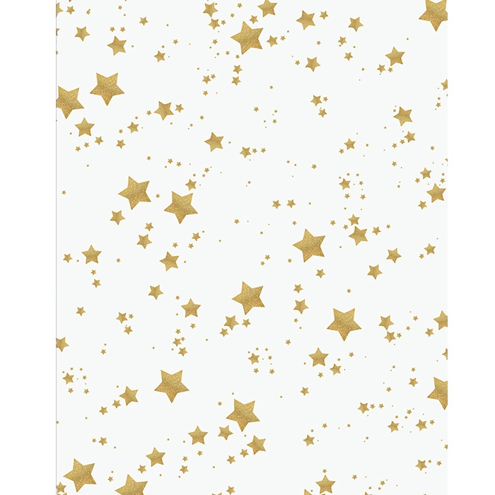 White and gold glitter stars printed backdrop
