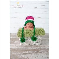 Watermelon Pom Crochet Hat