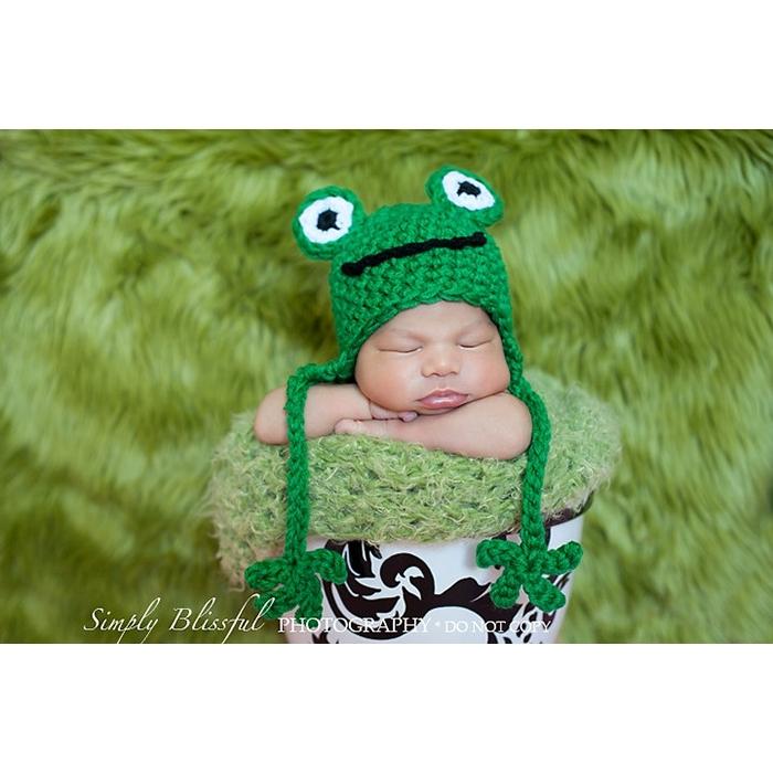 Frog Earflap Crochet Hat Backdrop Express