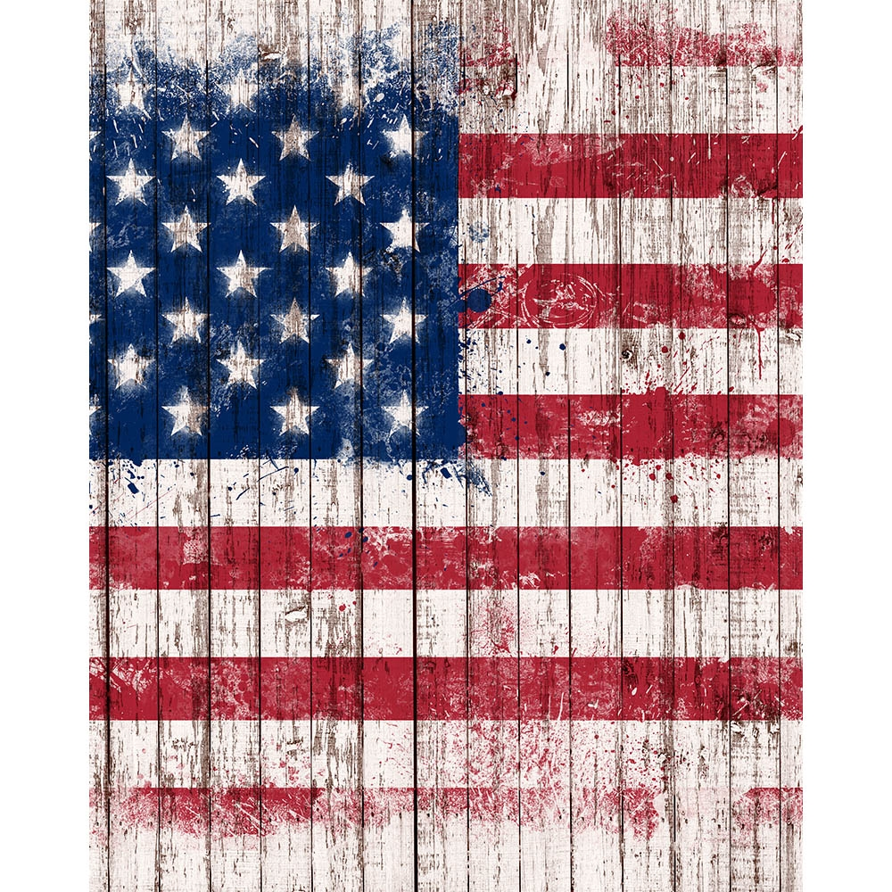 Vintage American Flag Planks Backdrop Express