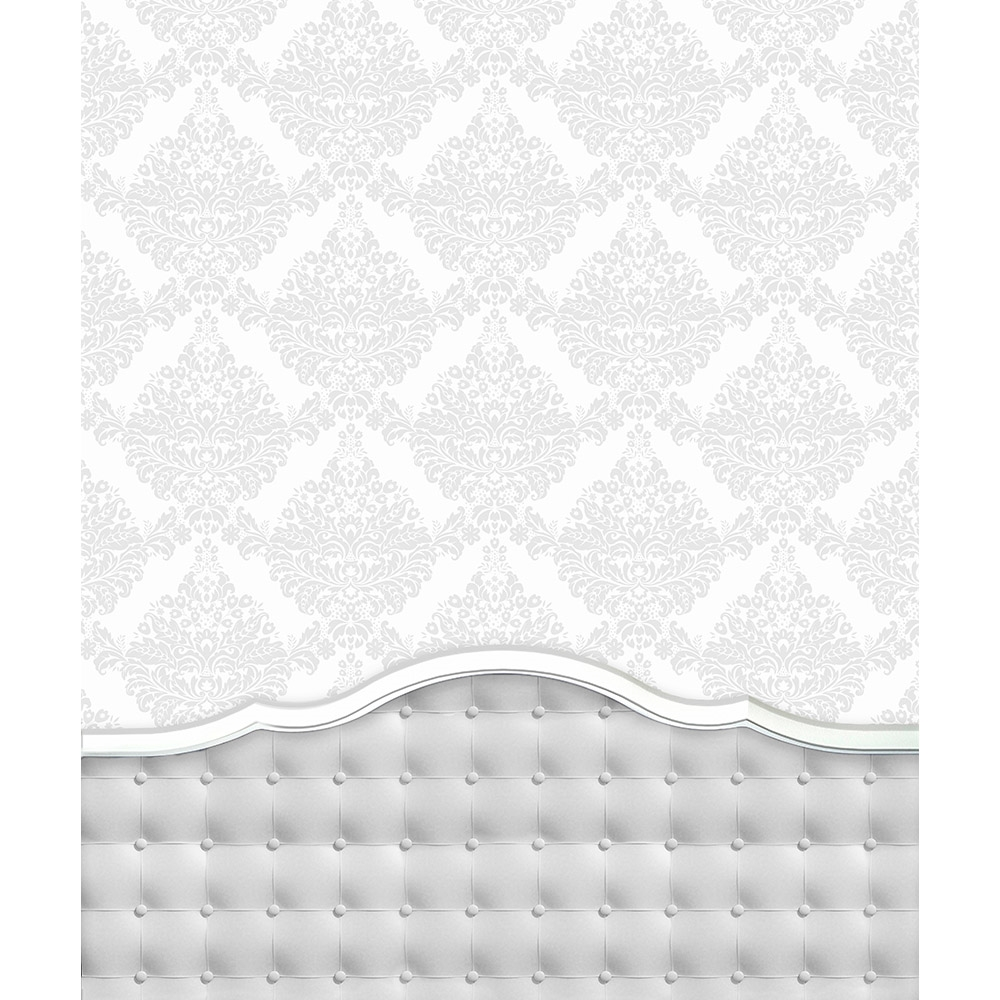 Damask White Tufted Headboard Printed Backdrop Backdrop