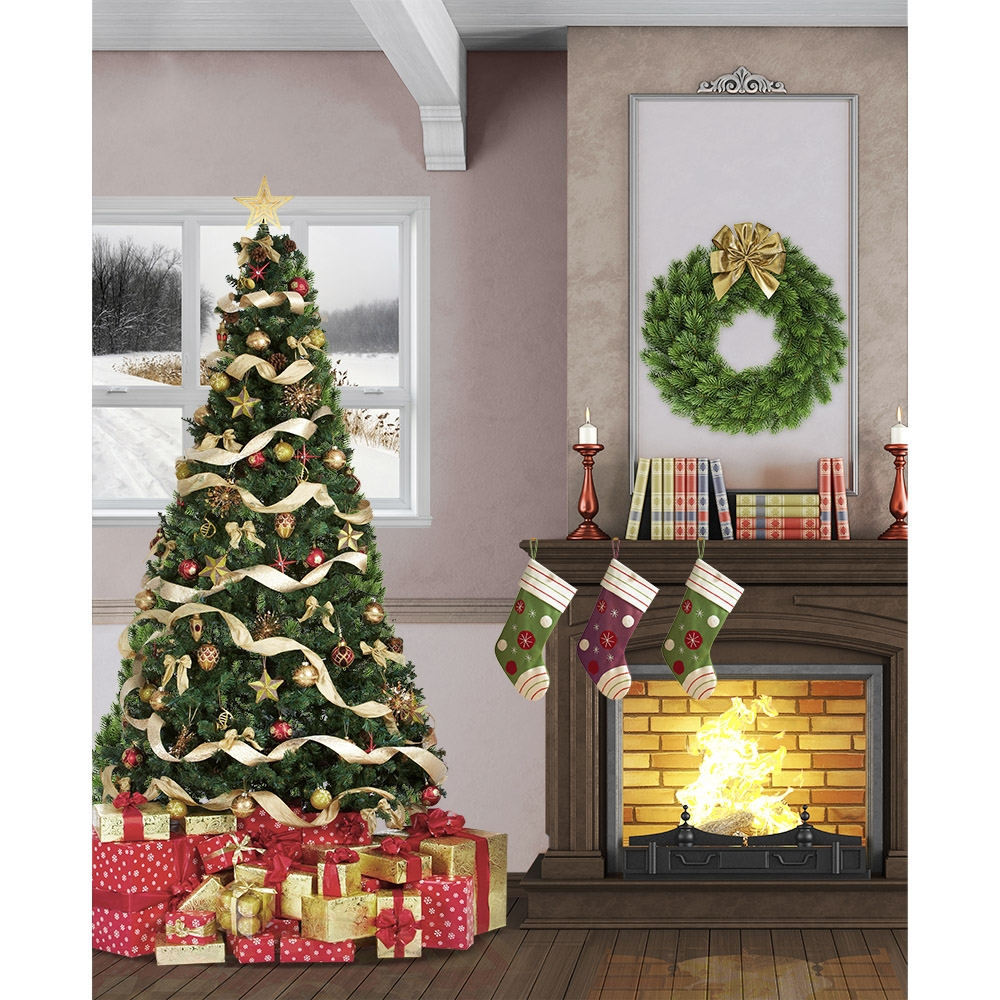 Christmas living room printed backdrop backdrop express for Idee deco trackid sp 006