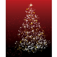 Sparkling Christmas Tree Printed Backdrop