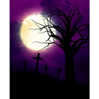 Creepy Graveyard Printed Backdrop