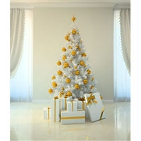 Gold & White Christmas Printed Backdrop