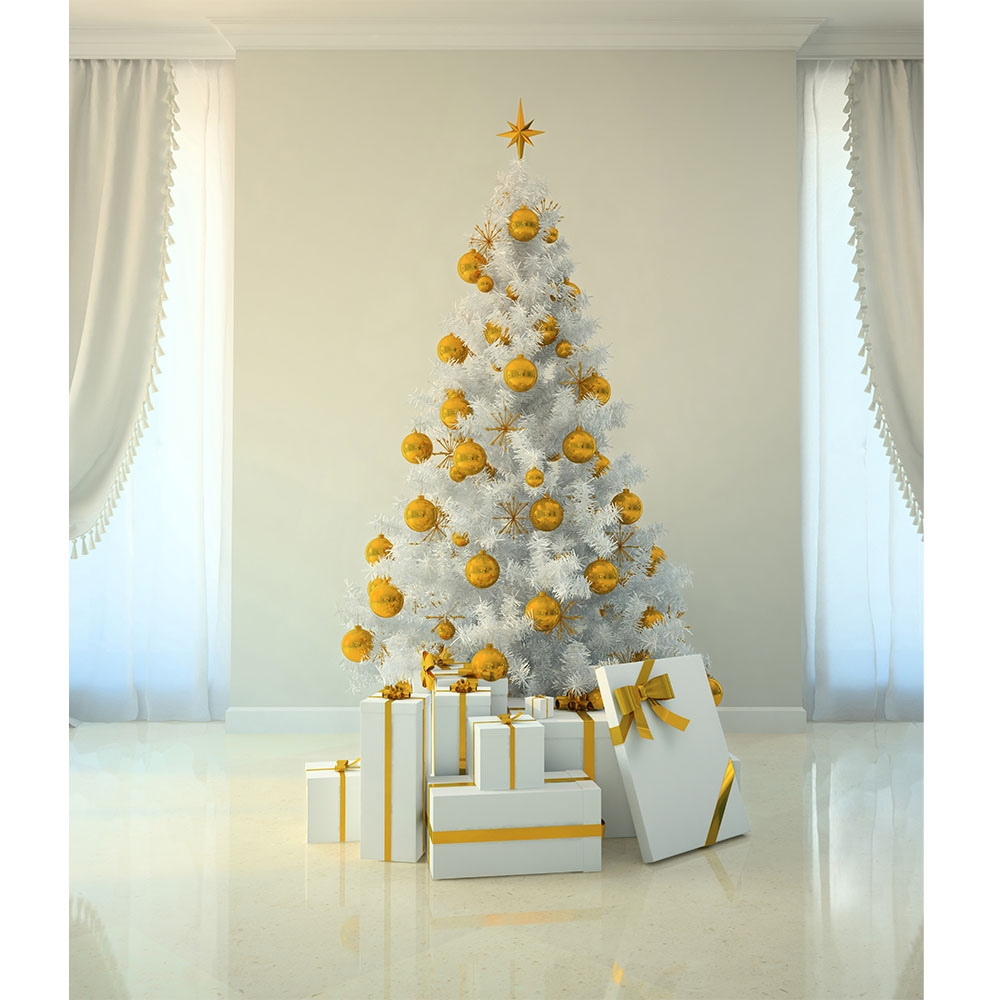 Gold Amp White Christmas Printed Backdrop Backdrop Express