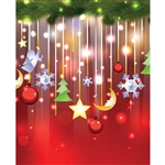 Dangling Christmas Ornaments Printed Backdrop