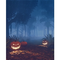 Evil Jack-O-Lantern Forest Printed Backdrop