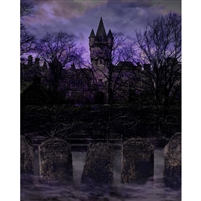 Haunted Cemetery Printed Backdrop