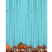 Pumpkin on Teal Wood Printed Backdrop