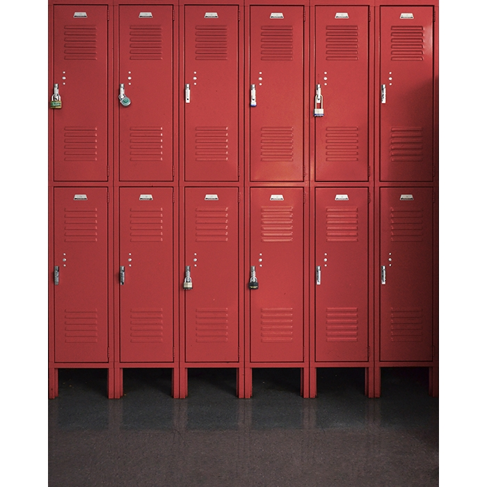 Red Lockers Printed Backdrop Backdrop Express