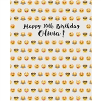 Custom Emoji Birthday Printed Backdrop