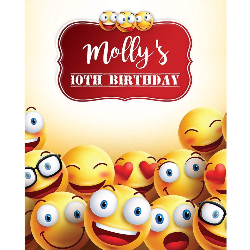 Emoji Birthday Party Printed Backdrop