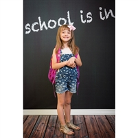 """School is in"" Chalkboard  Printed Backdrop"