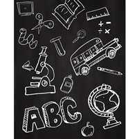 School Blackboard Printed Backdrop