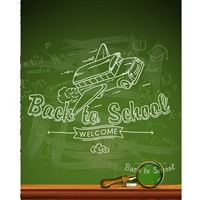 Magic School Bus Chalkboard Printed Backdrop