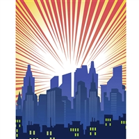 Blue Cityscape Printed Backdrop