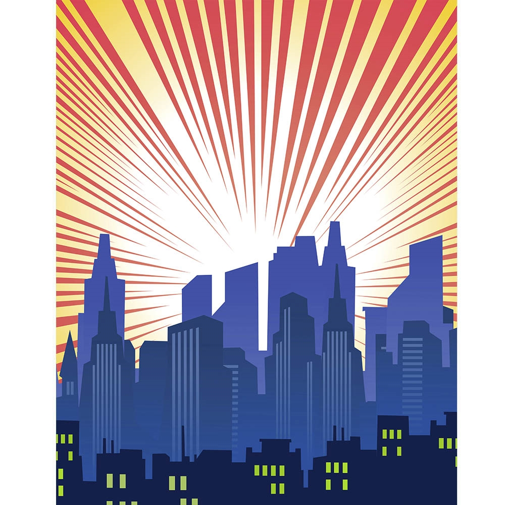Blue Cityscape Printed Backdrop Backdrop Express