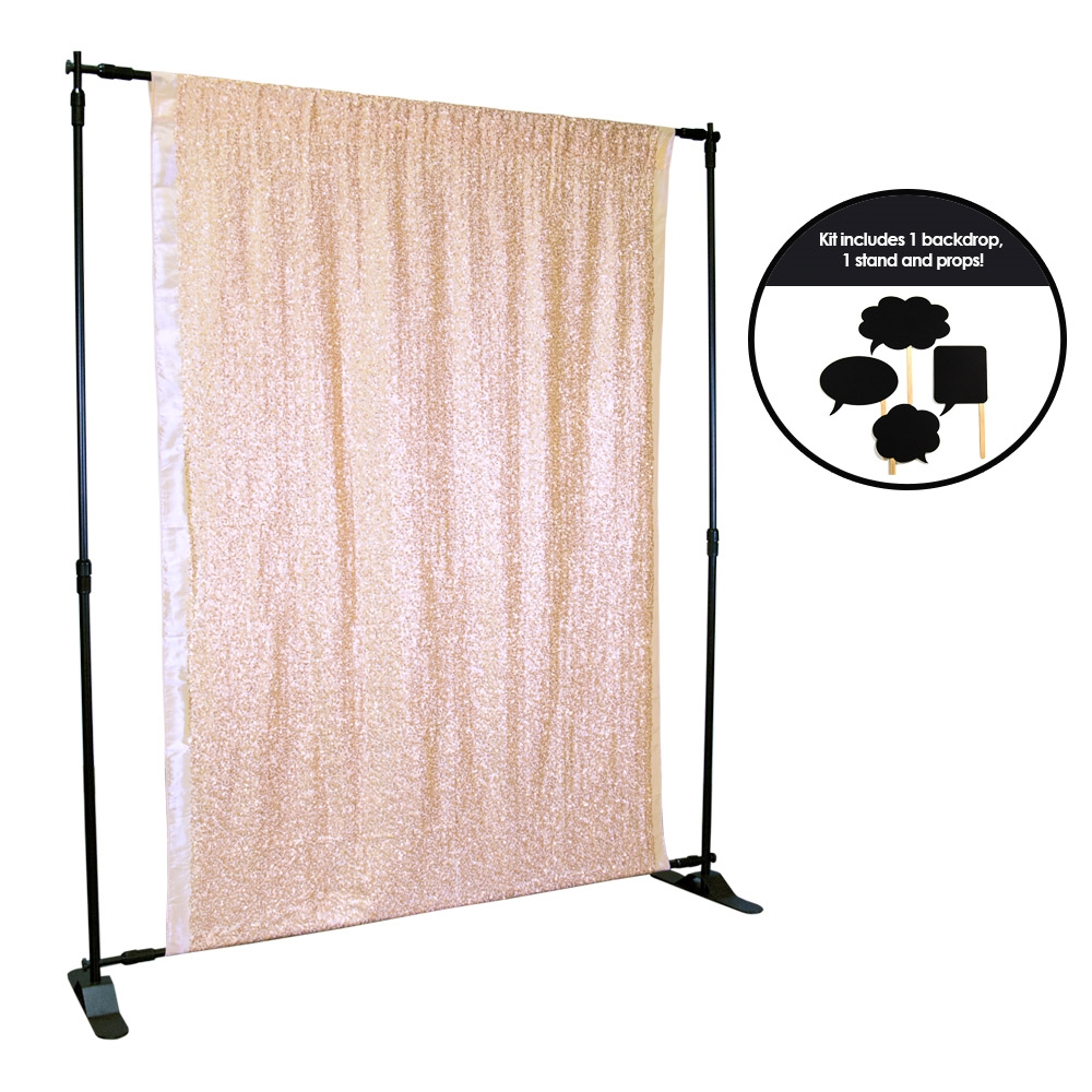Rose Gold Sequin Photo Booth Kit Backdrop Express