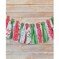 Candy Cane Christmas Fabric Garland