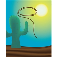 Desert Cowboy Lasso Poseable Printed Backdrop