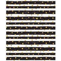 Gold Dots on Black Stripes Printed Backdrop