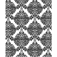 White & Black Damask Printed Backdrop