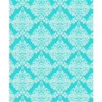Teal & White Damask Printed Backdrop