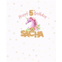 Pink and Gold Custom Unicorn Printed Backdrop
