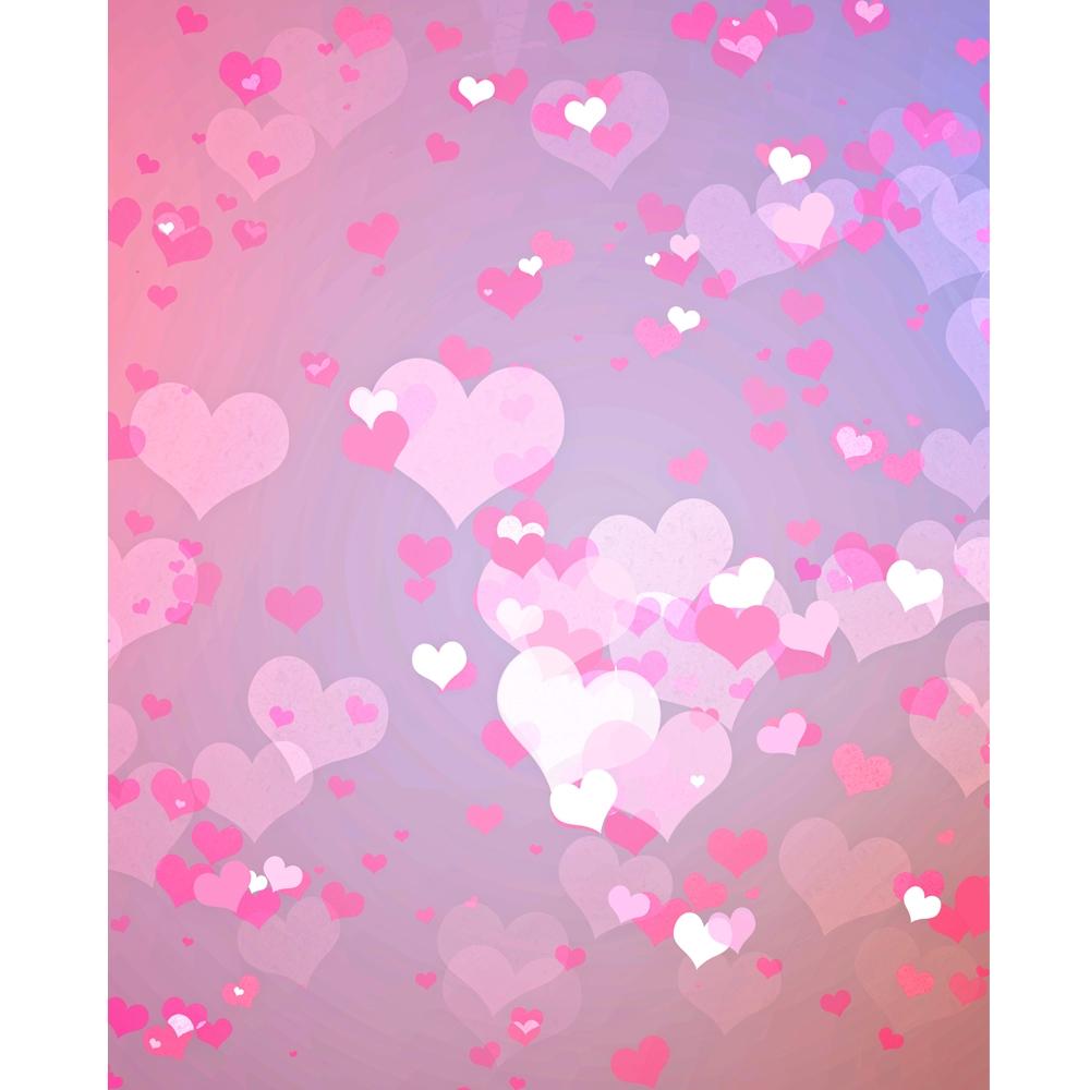 Pastel Pink Hearts Printed Backdrop Backdrop Express