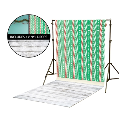 Mint Garland & Candycane Stripe Vinyl Backdrop Kit
